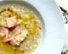 Soupe à l'orge lentilles corail et saumon