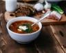 Soupe aux pommes de terre chou rouge et lardons