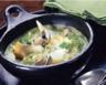 Soupe de poireaux au haddock et aux coques
