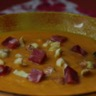 Soupe de potiron et lentilles corail châtaignes et noix de jambon