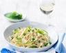 Spaghettis aux petits pois courgette et fromage frais