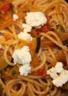 Spaghettis aux tomates courgettes et fromage frais