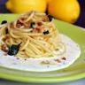 Spaghettis infusés aux écorces de citron et basilic sauce crémeuse