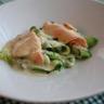 Tagliatelles de courgette au saumon et sabayon de Roquefort
