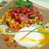 Tartare de légumes au citron et Gésiers de Poulet oeuf poché sauce mousse de roquette