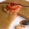 Tarte à la rhubarbe sur fond de coco et ses tagliatelles de rhubarbe caramélisées