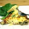 Tarte aux champignons et lardons salade