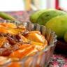 Tarte tatin mangues et rhubarbe confite au sirop de pamplemousse-romarin