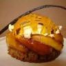 Tartelette aux noix pommes caramélisées vanille Bourbon coeur rafraichissant au cidre et cage d...