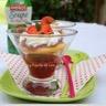 Tartelette rhubarbe suspendue sur soupe de fraises Andros