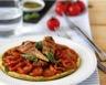 Tartes fines aux tomates et pesto filets de maquereaux grillés aux légumes du soleil