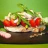 Tartine d'anchoïade petits légumes et poulet mariné citron basilic