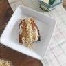 Tartine perdue 'sucrée salée' crème de Saint Agur poire et chorizo - Crumble de noix