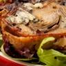 Terrine tiède de Fourme d'Ambert pommes artichauts et jambon de pays salade d'endive et betterave.