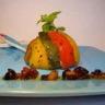 Terrinette aux poivrons confits et filets de rouget sauce vierge