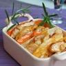Tian de légumes et poulet sauté crème d'échalote roquette et mâche