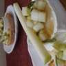 Toast de chèvre chaud au miel et tartare de pomme granny menthe
