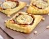 Toasts feuilletés au confit d'oignons et chèvre