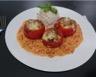 Tomates farcies aux champignons sur lit de riz basmati