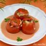 Tomates farcies aux risone et à la viande sauce crémeuse tomate et balsamique