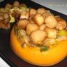 Trio gourmand : Noix de St Jacques purée de patate douce et fondue de poireaux