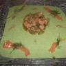 Vélouté de mâche et tartare de saumon à l'aneth et wasabi