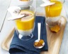 Velouté de potimarron sur lit de Carré Frais® 0% et noix copeaux de cèpes crus et cacao amer