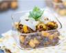 Verrine de lentilles au curry flétan fumé et pomme verte