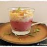 Verrine mousse de betterave mousse d'ail au chutney de figues melon et caramel d'ail