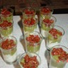 Verrines courgettes tomates confites et fromage frais