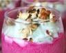 Verrines de crème de betterave concombre et noisettes torréfiées