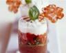 Verrines de tomates caviar d'aubergine et crème de chèvre