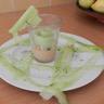 Verrines mousse de jambon et lamelles de concombre