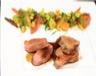 Agneau en 2 cuissons espuma d'houmous boulgour et légumes tajine