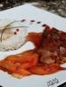 Aiguillettes de canard aux pêches sauce miel et vinaigre balsamique