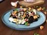 Aubergines rôties yaourt sauce vierge & croûtons