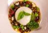 Bavarois de chou-fleur, cœur coulant tomate, sauce vierge aux olives