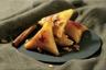 Briouate à la crème d'amande laqué au miel et pignons de pin