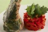 Carré d'agneau rôti à l'ail compotée de poivrons rouges