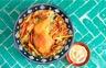 Cuisse de dinde rôtie aux épices boulgour aux légumes et houmous
