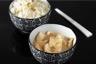Curry vert de poulet au lait de coco riz basmati à l'oignon et poireau