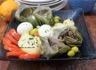 Entrée d'artichauts- pommes de terre et oeufs durs- sauce vinaigrette a l'ail
