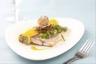 Filet de rouget rôti palourdes au safran cannelloni au caviar d'aubergines au citron confit