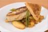 Foie gras poêlé aux pommes et coings