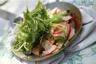 Langoustines en croquant de légumes radis navet roquette déglacés au Xérès huile d'olives en poêlon chaud