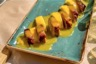 Magret de canard aux mangues poivrées purée de patates douces au gingembre