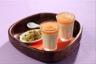 Panna cotta au chocolat blanc coulis de melon et crumble pistache