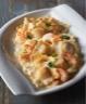 Ravioli pesto mozzarella et leur crème safranée aux crevettes sautées