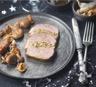 Rôti de magret de canard Montfort et sa farce aux marrons aux champignons et pommes acidulées