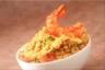 Salade de lentilles corail gambas et sauce aux poivrons jaunes